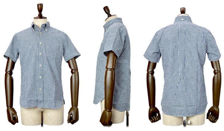 シャンブレー 半袖シャツ