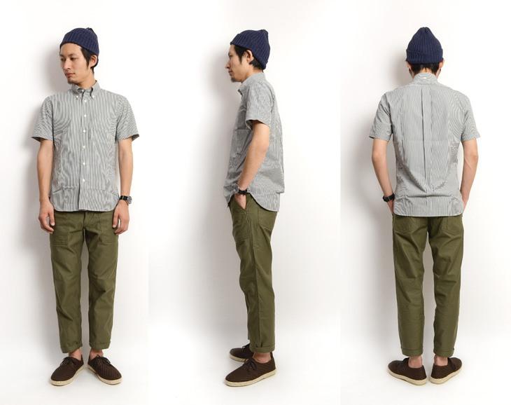ストライプ 半袖BDシャツ