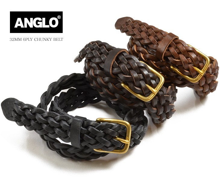 ANGLO LEATHER(アングロレザー)	レザー ベルト 編み込み 6PLY / メッシュベルト / アングロ / 32MM 6PLY CHUNKY BELT / BRASS
