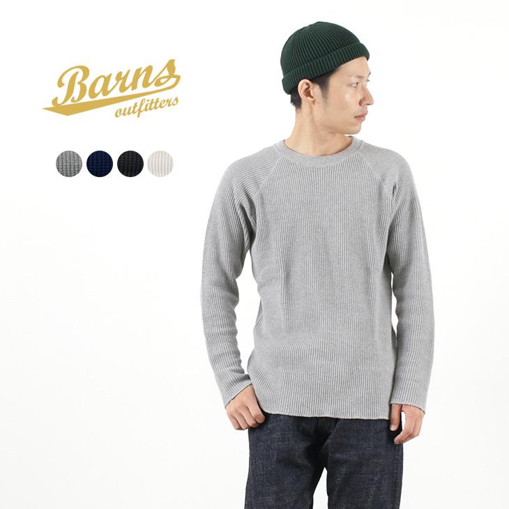 BARNS(バーンズ) BR-8001 ビッグワッフル ラグラン クルー サーマル Tシャツ